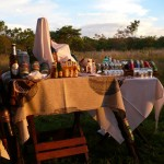 snacks and refreshing cold beverages in the bush